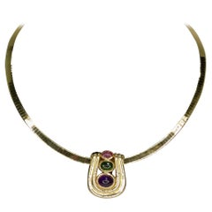 Amethyst & Tourmaline 14k Gold Choker Pendant Necklace