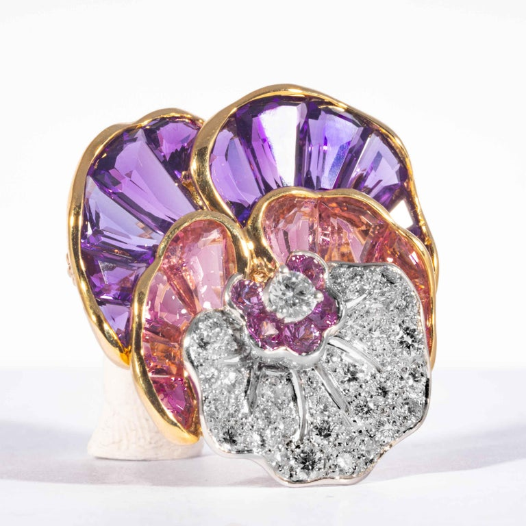 Women's or Men's Amethyst, Tourmaline, Topaz, and Diamond Pansy Pin, Signed Oscar Heyman Brothers For Sale