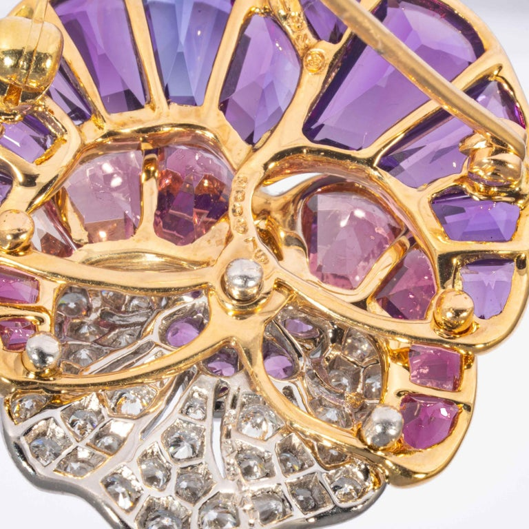 Amethyst, Tourmaline, Topaz, and Diamond Pansy Pin, Signed Oscar Heyman Brothers For Sale 1