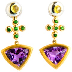 Amethyst, Tsavorite and Yellow Sapphire Cabochons Earrings in Yellow Gold 18K