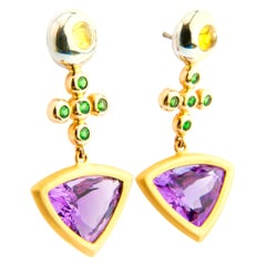 Amethyst, Tsavorite and Yellow Sapphire Cabochons Yellow Gold Cocktail Earrings