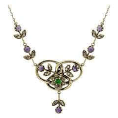 Amethyst Tsavorite Diamond Pendant Necklace