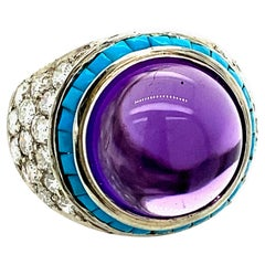 Amethyst, Turquoise and Diamond Cocktail Ring