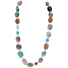Amethyst Turquoise Carnelian Citrine Vermeille Necklace