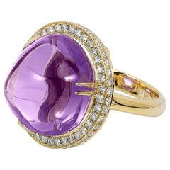 Amethyst Uneven Round Cabochon Ring with Diamonds