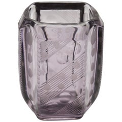 Amethyst Vase with Art Deco Engraved Geometric Design