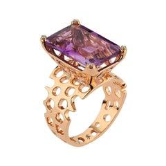 Amethyst Waves Ring in 14 Karat Rose Gold with White Diamond