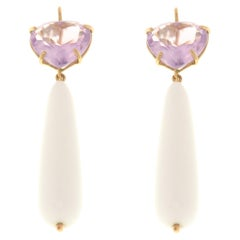 Amethyst White Agate 9 Karat Rose Gold Drop Earrings Handcrafted in Italy