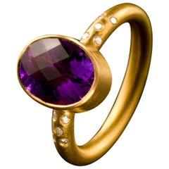 Amethyst White Diamond 18 Karat Gold Cocktail Ring