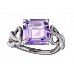 Amethyst White Diamond Platinum Silver Rhodium Engagement Cocktail Ring