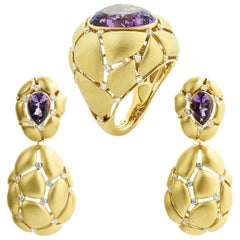 Amethyst White Diamonds 18 Karat Yellow Gold Suite