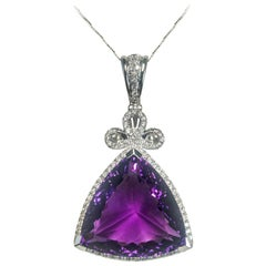 Amethyst 36.46 Carats White Gold Pendant Necklace