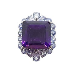 Amethyst with Blue Sapphire Ring Set in 18 Karat White Gold Settings