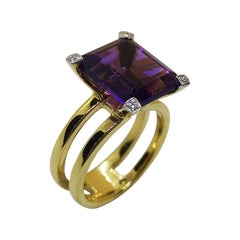 Amethyst with Diamond Ring Set in 18 Karat Gold Settings