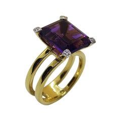 Amethyst with Diamond Ring Set in 18 Karat Gold Settings