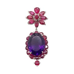 Amethyst with Ruby Pendant Set in 18 Karat White Gold Settings