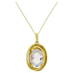 Amethyst Wrapped in Yellow Gold and Diamonds Pendant Necklace