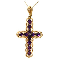 Amethyst Yellow Gold Diamond Large Cross Pendant Necklace