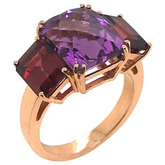 Amethyste and Grenat on Pink Gold 18 Karat Fashion Ring