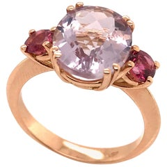 Amethyste and Tourmaline on Pink Gold 18 Karat Fashion Ring
