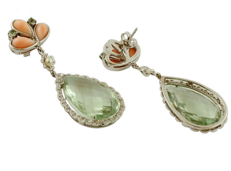Retro Amethyst, Green Sapphires, Coral, Pearl, Diamonds, 14 Karat White Gold Earrings For Sale