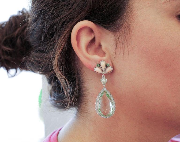 Women's Amethyst, Green Sapphires, Coral, Pearl, Diamonds, 14 Karat White Gold Earrings For Sale