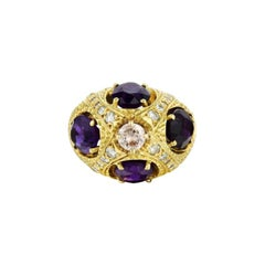 Amethysts Diamond 18 Karat Gold Dome Ring