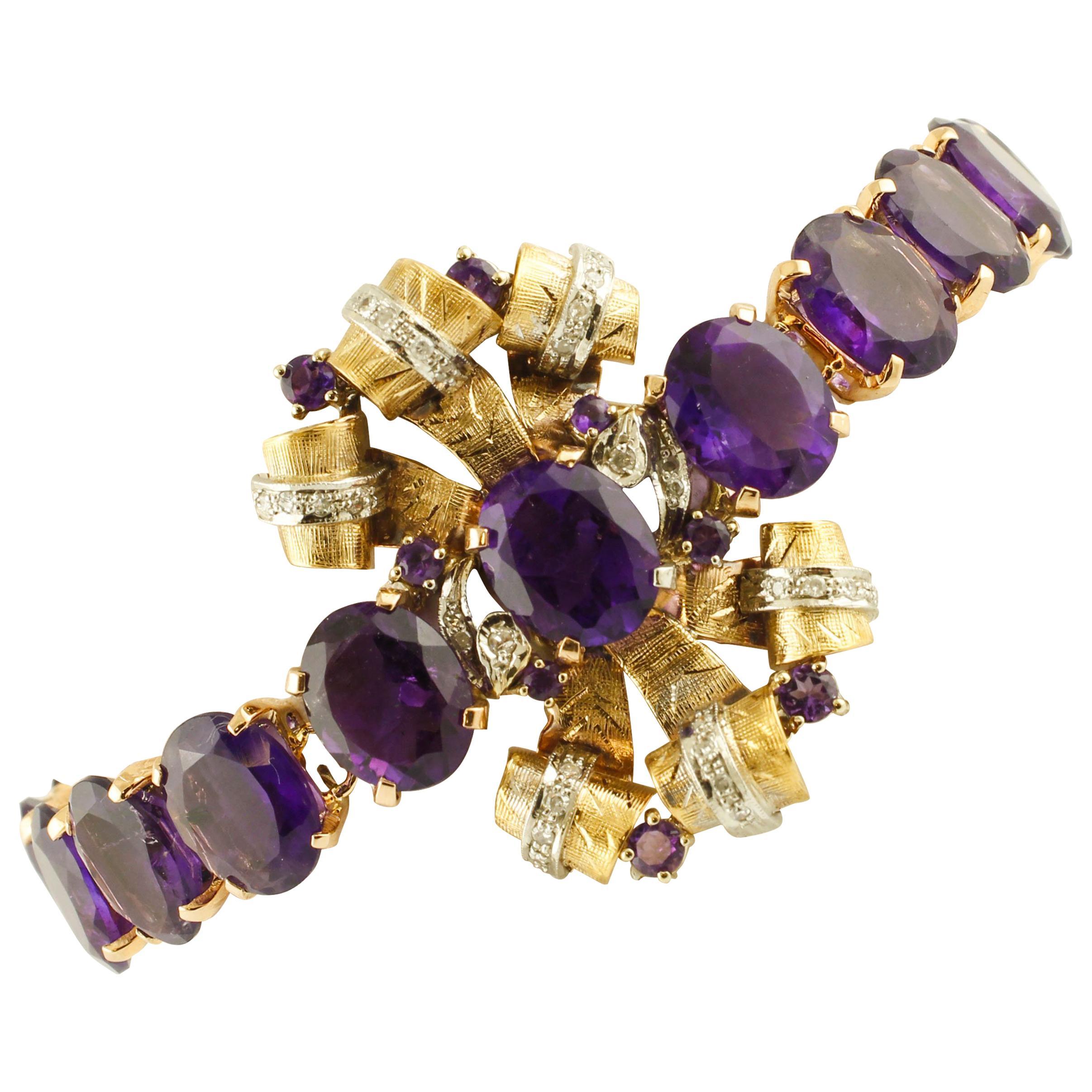 Amethysts, Diamonds, 9 Karat Rose and White Gold Bracelet