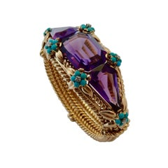 Amethysts, Diamonds and Turquoises Bracelet