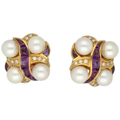 Amethysts Diamonds Cultured Akoya Pearls Gold Earrings