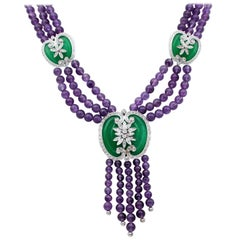 Amethysts, Diamonds, Jade, 14 Karat White Gold Necklace