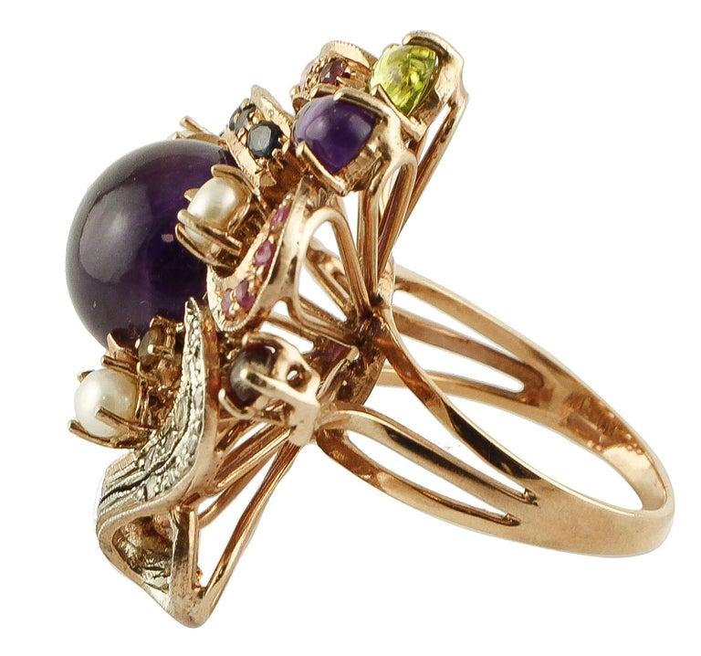 Retro Amethysts,Diamonds,Rubies,Sapphires,Peridot,Garnets,Pearls,Rose Gold&Silver Ring For Sale