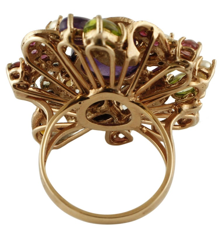 Amethysts,Diamonds,Rubies,Sapphires,Peridot,Garnets,Pearls,Rose Gold&Silver Ring In Excellent Condition For Sale In Marcianise, Marcianise (CE)