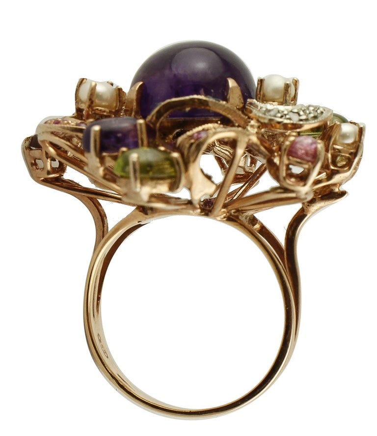 Women's Amethysts,Diamonds,Rubies,Sapphires,Peridot,Garnets,Pearls,Rose Gold&Silver Ring For Sale