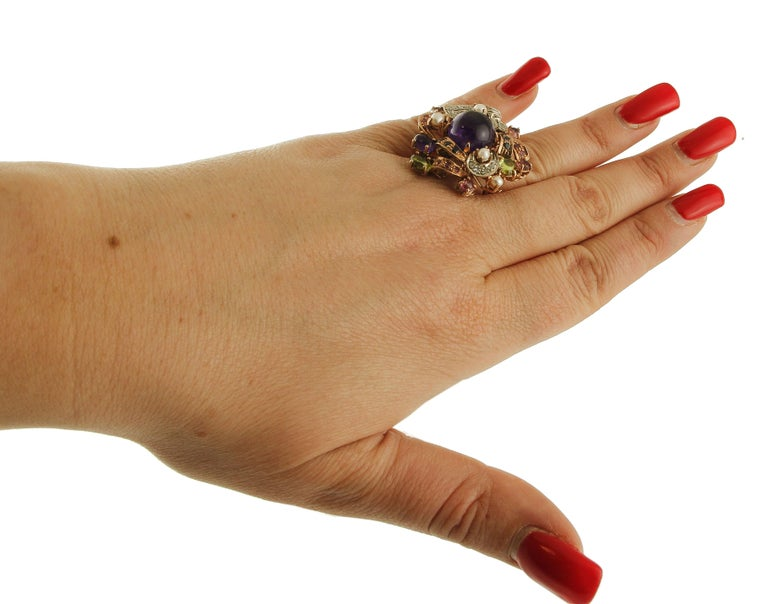 Amethysts,Diamonds,Rubies,Sapphires,Peridot,Garnets,Pearls,Rose Gold&Silver Ring For Sale 2