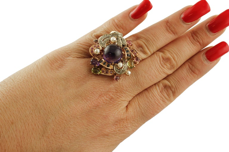 Amethysts,Diamonds,Rubies,Sapphires,Peridot,Garnets,Pearls,Rose Gold&Silver Ring For Sale 3