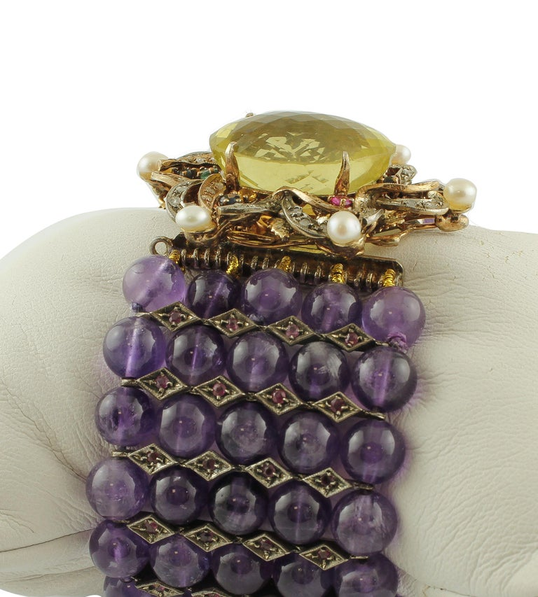 Retro Amethyst Topaz Diamond Ruby Emeralds Sapphire Pearls Gold and Silver Bracelet For Sale