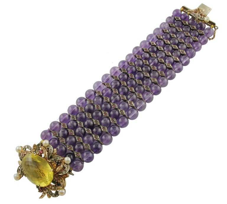Amethyst Topaz Diamond Ruby Emeralds Sapphire Pearls Gold and Silver Bracelet In Excellent Condition For Sale In Marcianise, Caserta