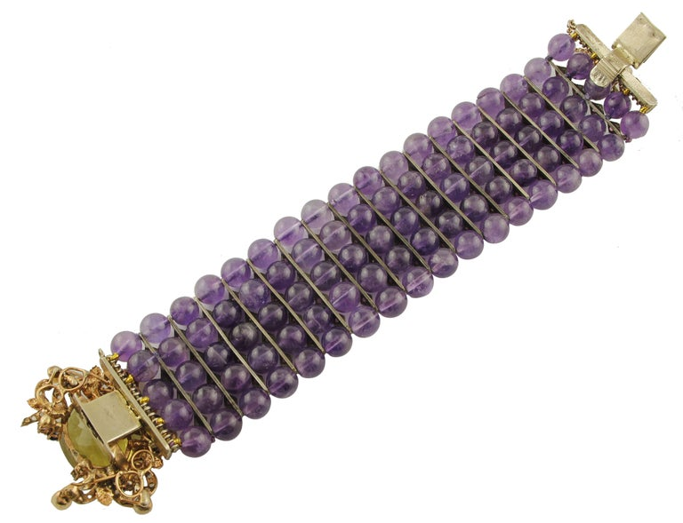 Women's Amethyst Topaz Diamond Ruby Emeralds Sapphire Pearls Gold and Silver Bracelet For Sale