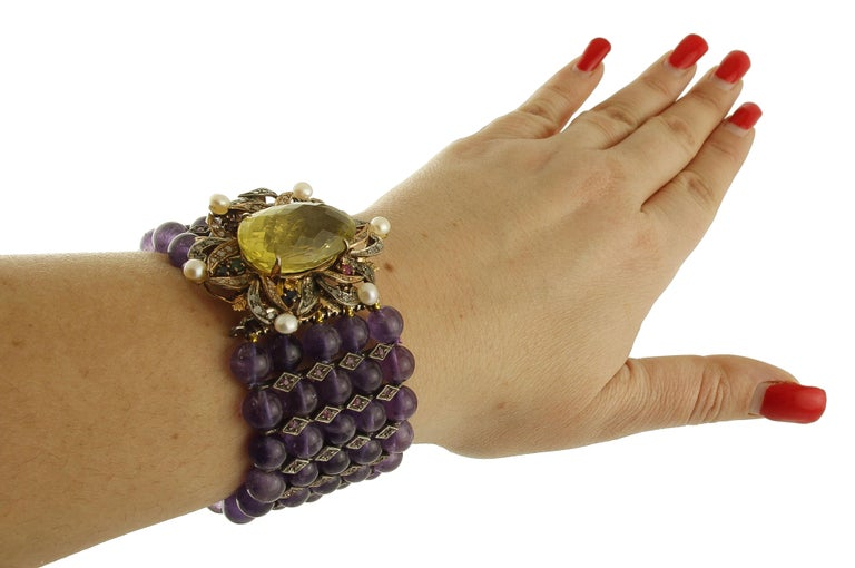 Amethyst Topaz Diamond Ruby Emeralds Sapphire Pearls Gold and Silver Bracelet For Sale 2