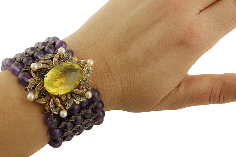 Amethyst Topaz Diamond Ruby Emeralds Sapphire Pearls Gold and Silver Bracelet For Sale 3