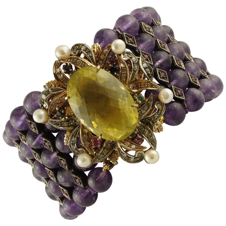 Amethyst Topaz Diamond Ruby Emeralds Sapphire Pearls Gold and Silver Bracelet For Sale