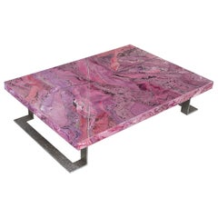 Ametista pink Coffee Table Scagliola Decoration  Metal Feet made in Italy