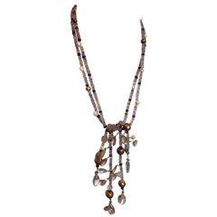Ametrine Gemstone and Freshwater Pearl Lariat Necklace with a Silver Clasp