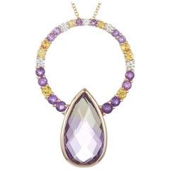 Ametrine, Yellow Sapphire, Amethyst, White Diamond Pendant 14 Karat Yellow Gold