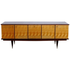 Ameublement NF Mahogany and Satinwood Credenza with Brass Hardware from France