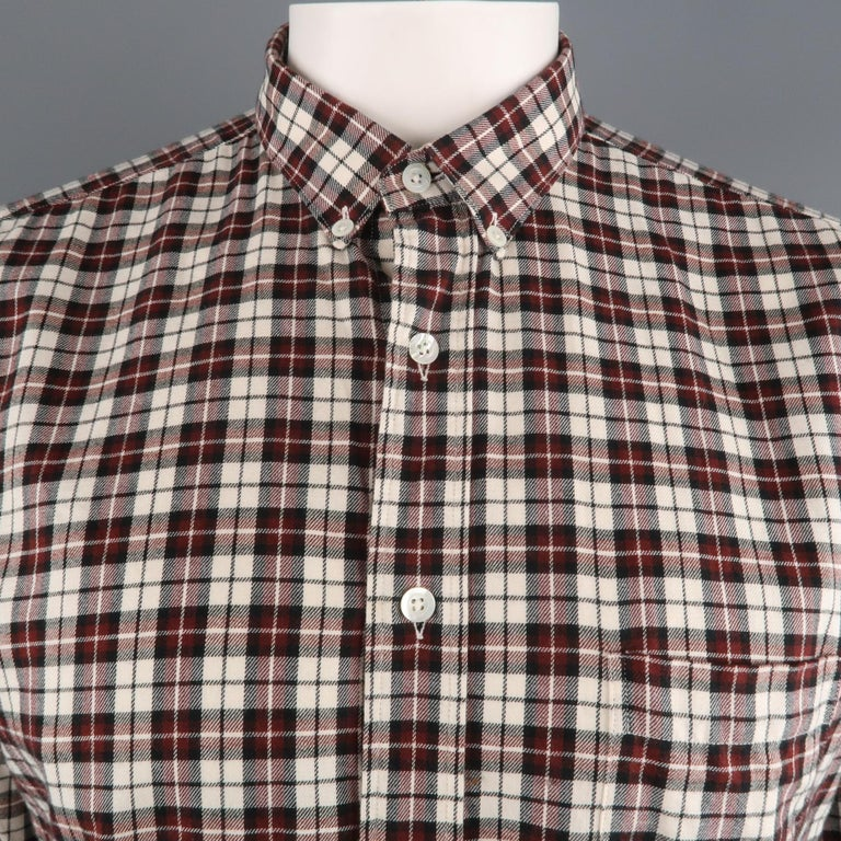 AMI by ALEXANDRE MATTIUSSI long sleeve shirt comes in a white and burgundy plaid cotton featuring a button down style and a front patch pocket.   Excellent Pre-Owned Condition. Marked: 43   Measurements:   Shoulder: 18.5 in. Chest: 48 in. Sleeve: