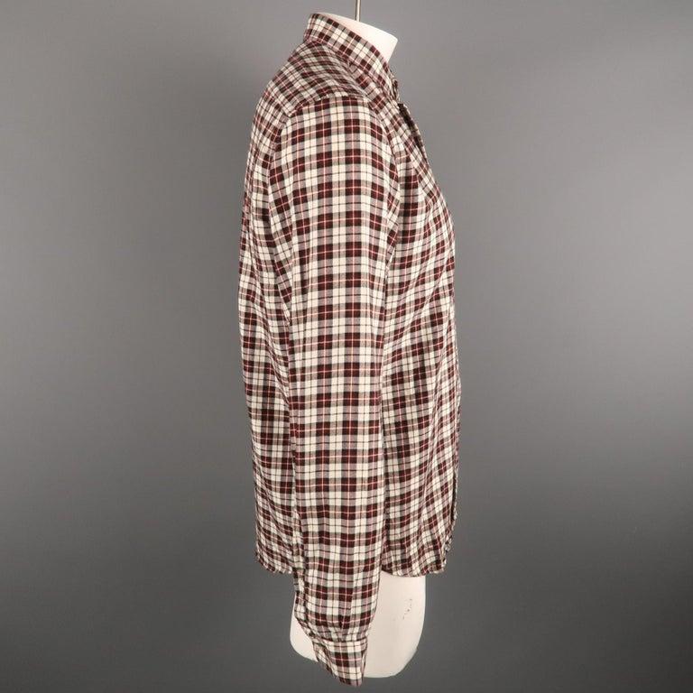 Gray AMI by ALEXANDRE MATTIUSSI Size L Plaid Cotton Button Down Long Sleeve Shirt For Sale