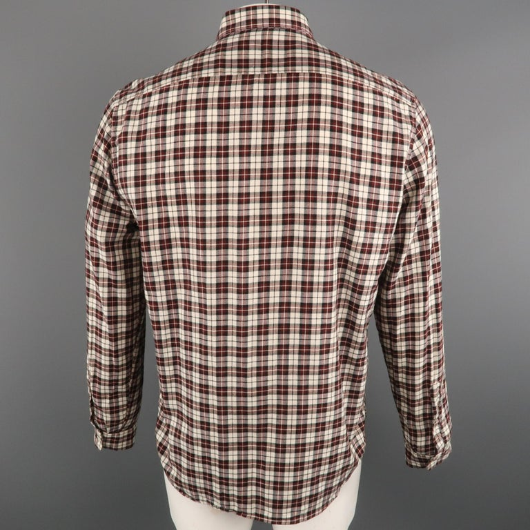 AMI by ALEXANDRE MATTIUSSI Size L Plaid Cotton Button Down Long Sleeve Shirt In Excellent Condition For Sale In San Francisco, CA