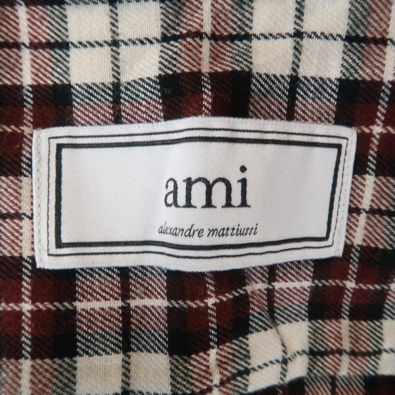 Men's AMI by ALEXANDRE MATTIUSSI Size L Plaid Cotton Button Down Long Sleeve Shirt For Sale